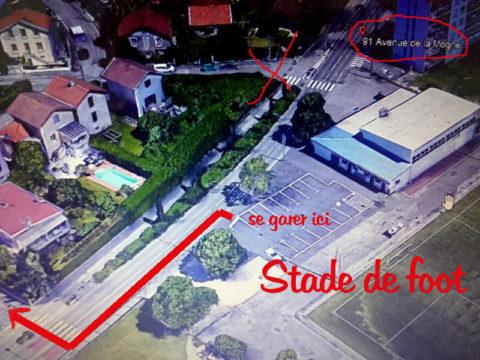 Trouvez l'adresse 91 avenue de la mogne à saint martin d'hères 38400, se garer au parking du stade de foot.