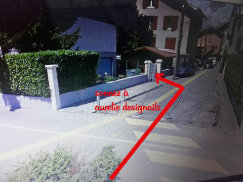 Traversez et trouvez la maison sur la gauche avec le portail blanc. Sonnez à aurelie designails.