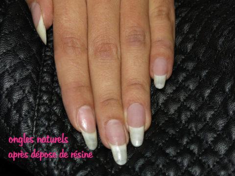 ongles naturels après retrait des faux ongles
