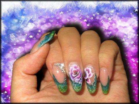faux ongles acrygel gel french paillette bleues et verte