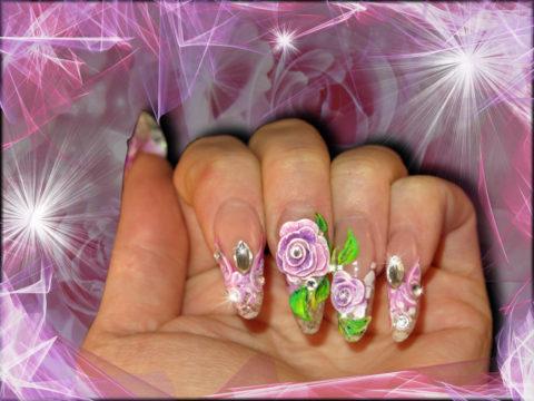 faux ongles en gel rose 3d