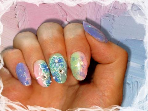 pose d'ongles en gel pastelle, nail art gel paint
