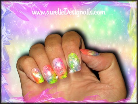faux ongles multicolore