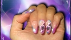 aux ongles résine french bleue violet one stroke