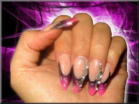 aux ongles résine french rose et violette