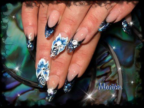 french manucure en nacre noire et bleue transprente nail art 3d