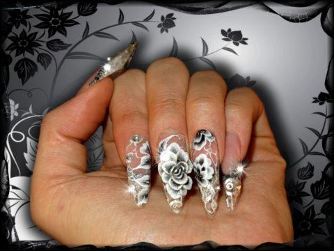 manucure en gel noir et blanc nail art 3d one stroke