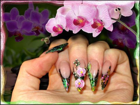 ongles en résine, paillettes, fleur orchidée nail art 3d