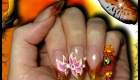 faux ongles edge vitrail orange et jaune serpent 3d