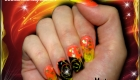 faux ongles orange et jaune nail art gel paint fb