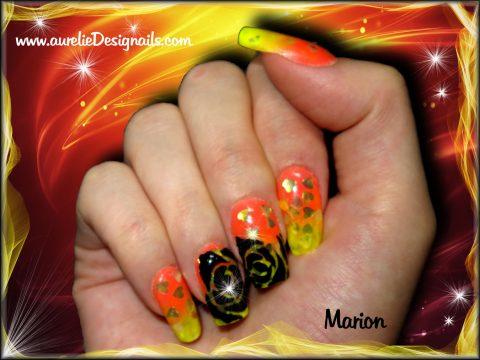 faux ongles orange et jaune nail art gel paint fb