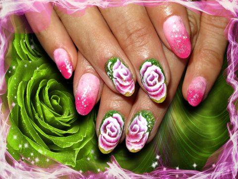 faux ongles gel one stroke vert rose
